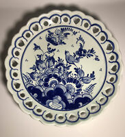 "Delfts Blauw Hand Painted Plate Dish  Blue White Holland Bird Flowers 8"" Round"