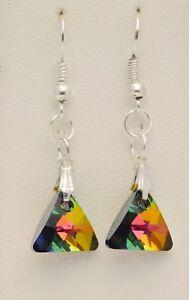Swarovski Crystal Beaded Drop/Dangle Hook Earrings Silver Plated - Handmade