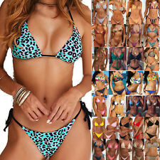 Damen Bikini Set Gepolstert Push Up G-String Schwimmanzug Tangas Strandanzug Neu