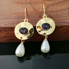 Fashion Pearl Amethyst Earrings 18K Yellow Gold Filled Ear Hook Dangle Jewelry