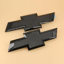 Gloss Black Front & Tailgate Bowtie Emblem For Chevy Silverado 1500