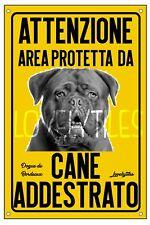 DOGUE DE BORDEAUX AREA PROTETTA TARGA ATTENTI AL CANE CARTELLO PVC GIALLO