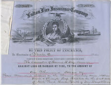RARE 1855 Engraved Fire Insurance Policy Williamsburg Brooklyn New York City NYC