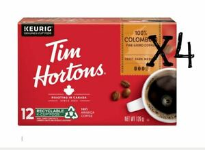 Tim Hortons Keurig Single Serve K Cups Coffee Canada COLOMBIAN BLEND -12x4 Boxes