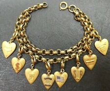 """Bracelet Vintage Chunky Double Rolo With Morgans Heart Charms High School 7.5"""""""