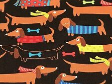 Fabric Dogs Dachshunds Wearing T-shirts & Scarf on Black Cotton by the 1/4 yard