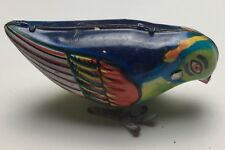 Vintage Tin Plate Wind Up Toy - Colourful Bird with Key - Works Perfectly
