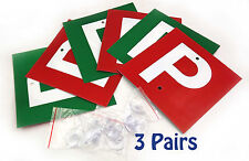 3 Pairs x  Driver Plates P & P in Red/Green  with 4 Suction Cups