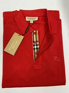 Burberry london men's military red  check placket polo shirt