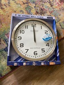 "WT-3161WH La Crosse Technology 16"" Atomic Analog Wall Clock - SILVER NIB"