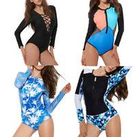 Women One Piece swimwear Long Sleeve Surfing Diving Swimsuit Beach Bathing Suit