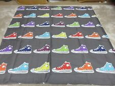 Retro sneakers grey red blue green craft remnant material fabric piece 95x95cm