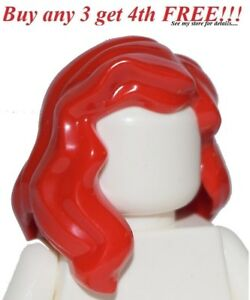 ☀️NEW Lego Minifig Hair Female Girl Bright Red Long Wavy Over the Shoulders