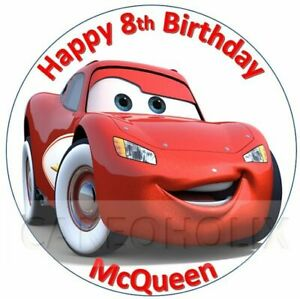 Cars Lightning McQueen Edible Birthday Cake Topper With Personalised Message