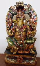 Ganesha Wooden Painted Sculpture Hindu God Ganesh Statue Temple Figurine Idol