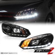 10-14 Volkswagen Golf/Gti 2.0T Black Halo Angel Eye Projector Headlight LED Lamp