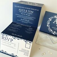 Classic Navy Day or Evening Personalised Wedding Invitations with RSVP