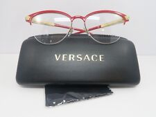 Versace Women's Red/Gold Glasses with Case Semi-Rimless MOD 1235 1376 53mm