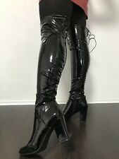 Lack Late* Overknee Thigh High Lackleder Stiefel Stiletto 39 Boots Gummi