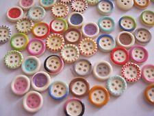 Wooden Decorated Buttons - qty 25, 15mm & Asstd Col Mix **NEW**