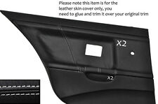 WHITE STITCH 2X REAR DOOR CARD LEATHER COVERS FITS BMW E36 SALOON SEDAN 91-98