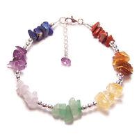 Sterling silver chakra bracelet Amethyst reiki pagan gemstone gem stone amethyst