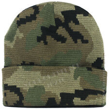 Plain ribbed Beanie Cap Camo Army Military Hunting Tactical Knit Ski Winter Hat