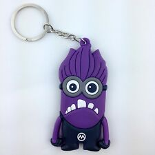 Despicable Me Evil Minion Purple Kevin Rubber Key Chain Ring Holder Keychain New