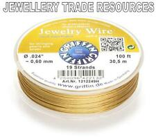 """GRIFFIN GOLD PLATED STEEL BEADING JEWELRY WIRE .024"""" / 0.60mm 100 FT. 19 STRAND"""