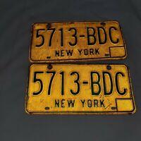 NEW YORK LICENSE PLATES Matching Set:  5713-BDC Vintage Plates.