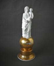 sculpture vierge à l'enfant en biscuit de porcelaine or XIXeme Restauration 1830