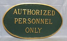 Cast Aluminum Personnel Only Oval Sign Plaque ,Hunter Green & Gold Garden Decor