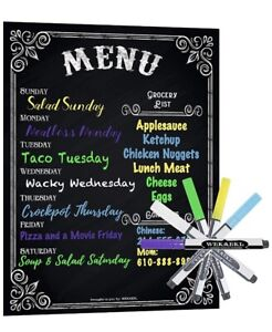 "New Magnetic Weekly Menu Planner Groceries Board 16"" X 12"" W Neon Chalk Markers"