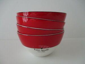 Kate Spade Rutherford Circle RED All Purpose Bowls Set of 4 New Lenox