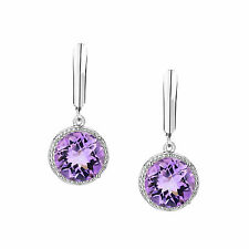 Genuine Natural Purple Amethyst Solid 925 Sterling Silver Leverback Earrings