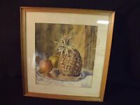 """Vintage Pineapple and Fruit Still Life 14"""" by 15"""" Framed Watercolor Painting"""