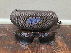 Maui Jim Ho'okipa MJ407-02 Half Rim Rectangle Black Sunglasses 64mm With Case