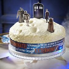 DOCTOR WHO Birthday Cake Decorating Kit - Cardboard Figure Toppers & Band *BNIP*