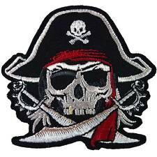 Pirate Cross swords Red Turban Skull Biker Motorcycle Embroidered Iron on Patch