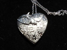 ANTIQUE SILVER BIRD VICTORIAN HEART LOCKET