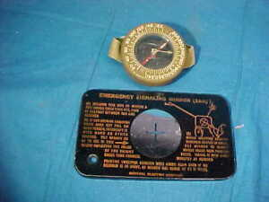 Orig WWII US Army SURVIVAL Items SIGNAL MIRROR + WRIST COMPASS