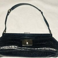 Charles David Genuine Leather Black Embossed Croc  Shoulder Bag Snap Closure