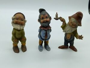 Bundle x3 Vintage Plastic Gnomes Marked Hong Kong Approx 7cm