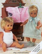(712) DK Knitting Pattern for Dolls Clothes, 6 Pieces, 12-22''
