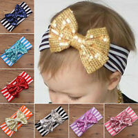 KQ_ JW_ TH_ Toddler Baby Girl Striped Hair Band Princess Sequins Bow Headband He