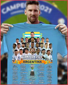 NEW! Argentina Signature Campeón 2021 Conmebol Copa America Championship T-shirt