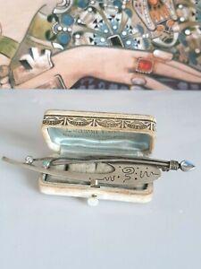 Phantastische große Brosche Silber 925, Mondstein und Opal, Meistermarke