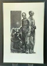 "BIG Mid-Century Woodblock 1960s Signed Lynd Ward, ''Two Men Waiting"" WPA Artist"