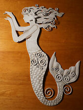 Beautiful Rustic White Mermaid Metal Wall Sculpture Art Beach Home Decor New