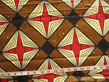 7/8 yd Cotton Fabric African Wax Print, Brown/Pale Yellow/Black/Red
